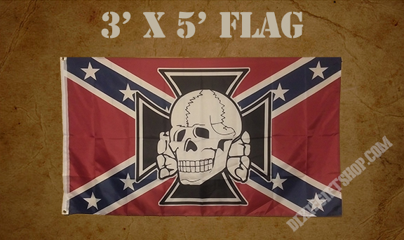 Rebel - Cross & Skull Flag