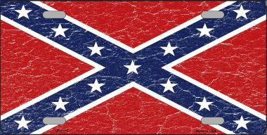Confederate Distressed License Plate