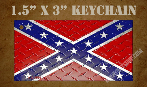 Key chain - Diamond Plate Rebel Flag