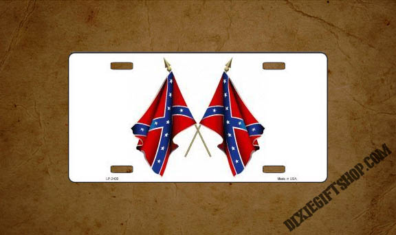 Confederate Crossed Flags License Plate